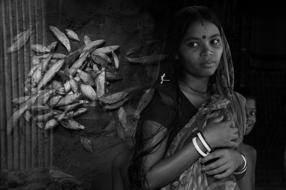 No water in the river means no fish. Phooleshwari, wife of a fisher,dreams of eating fish which has become a rarity in their nutrition. A composite from the banks of the Teesta in Bangladesh