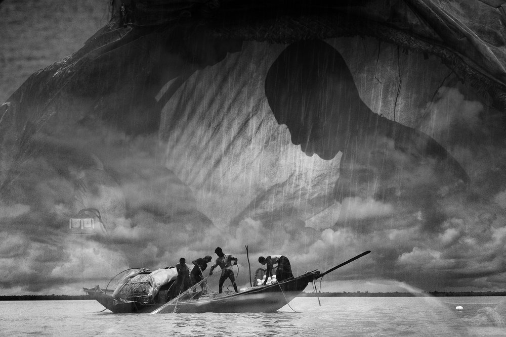 A composite image of a fisherman's kid and the fishermen in the Sundarbans. Artisanal fishing has become near unviable, leaving the next generation bereft.