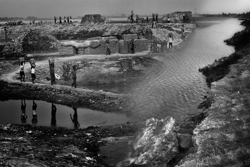 This composite shows what happens when livelihoods are taken away. Severe erosion along the Ganga around and due to the Farakka Barrage has left hundreds of thousands of families without income, forcing children to work in kilns like this, in a desperate bid to make ends meet.