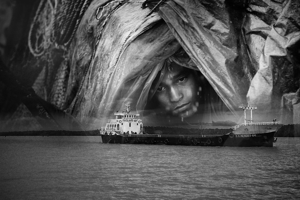 Big ships carrying coal and fly ash, oil and pesticides, sand and fertilizers have no business plying through the Sundarbans. This composite shows the illegal shipping traffic and the legal denizens of the rivers, a fisher boy.