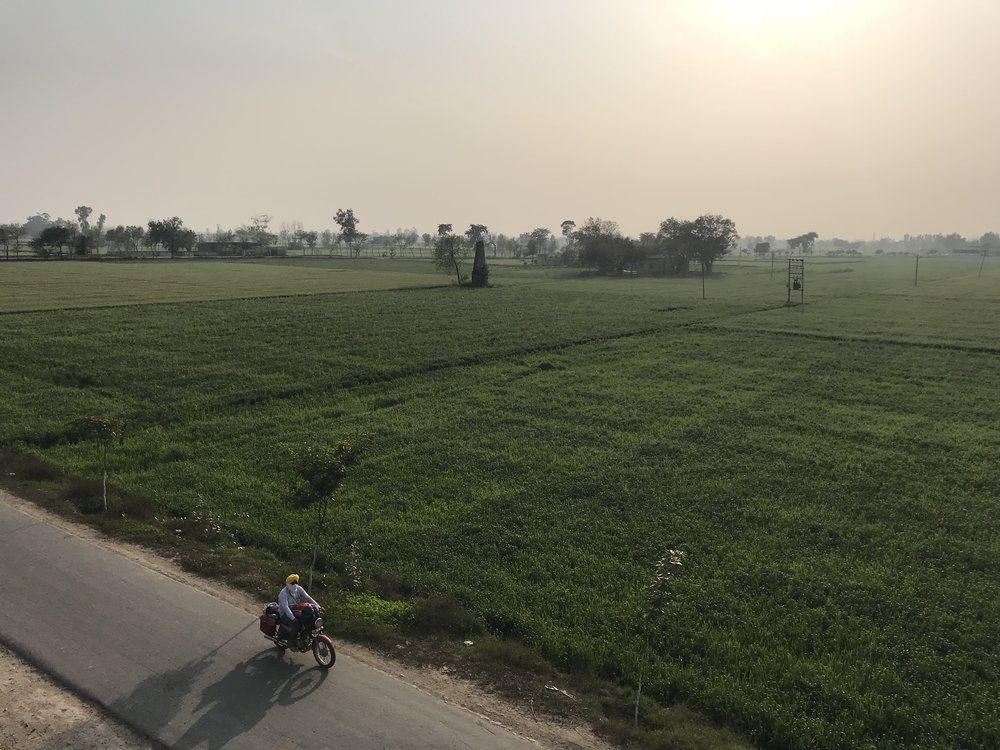 A kos minar (see minar near the center of the image) on the GT road that connects Agra and Lahore
