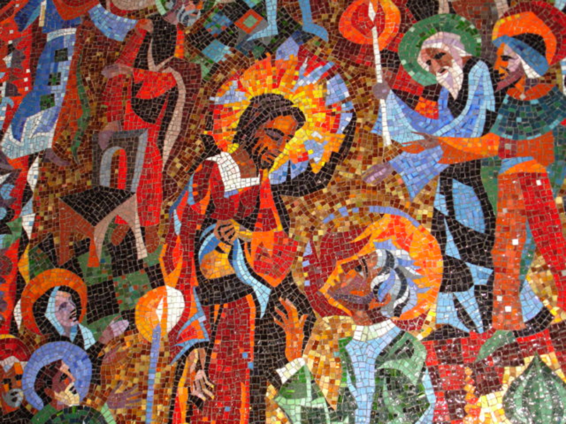 """Jesus Shows Himself to Thomas""  by Rowan and Irene LeCompte,  one of six mosaic murals by artists Rowan and Irene LeCompte in the Resurrection Chapel at the National Cathedral in Washington, D.C.  Made available by the ""Art in the Christian Tradition"" from the  Vanderbilt Divinity Library ."