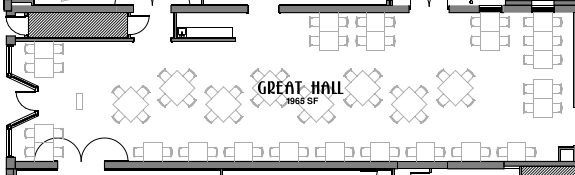 Basic Great Hall Floorplan (left is front/north entrance; to right is kitchen)