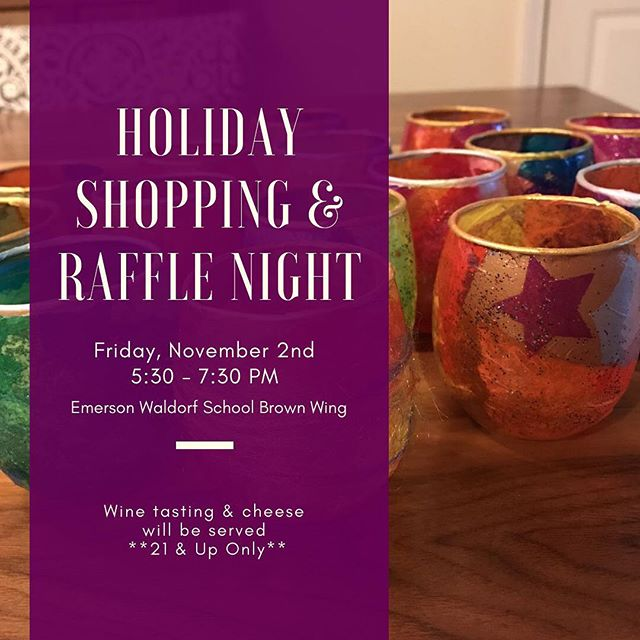 Adults are invited to join us at the Holiday Shopping & Raffle Night tonight from 5:30pm to 7:30pm! Wine tasting & cheese will be served thanks to our sponsors Boxcar Handmade Cheese & Piedmont Wine Imports. Raffle tickets will be available for purchase. See you there! ☺️ #EWSHarvestFest #EmersonWaldorf #EWS #RaffleNight #HolidayShopping #ChapelHill