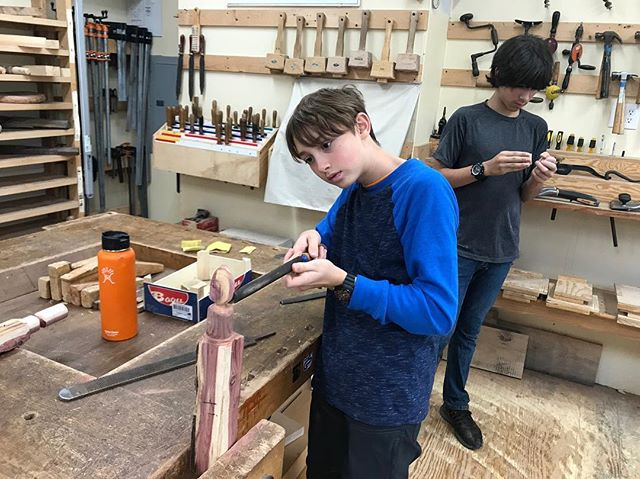 This morning the EWS 6th graders are carving eggs out of blocks of wood. Woodworking class is full of creative learning projects!  #EmersonWaldorf #EWS #WaldorfEducation #AWSNA #6thGrade #WoodWorking #Carving