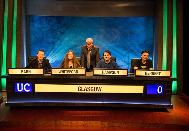Huge well done to our students beating @goldsmithsuol on #UniversityChallenge tonight 🎉👏 And props for the best (unofficial) mascots - a 🐟& a photo of the iconic Boyd Orr building 😂  This is apparently the first time in 40 years #TeamUofG have progressed to the quarter finals! Well done !  #universitychallenge #universityofglasgow #jeremypaxman #glasgowuni #glasgowuniversity #TeamUofG