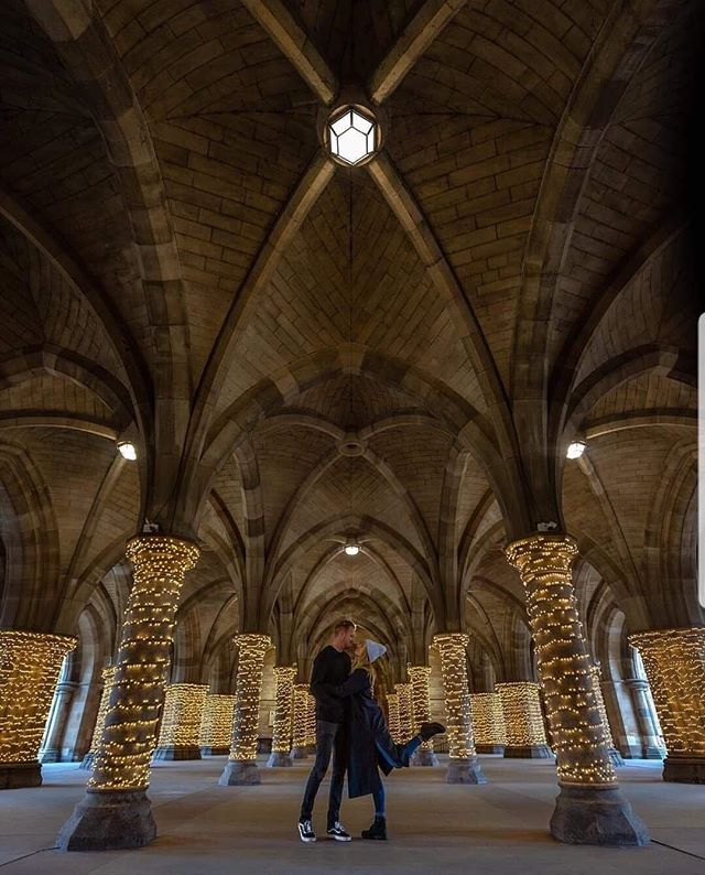 Aren't our cloisters a romantic setting! 😍 Love this photo of @wanderintwo visiting #UofG!  #UniversityofGlasgow #GlasgowUni #Glasgow #Scotland #University #College #Campus #UofGlasgow