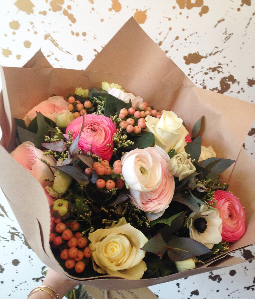 Roses, ranunculus and anemones from The Fresh Flower Company