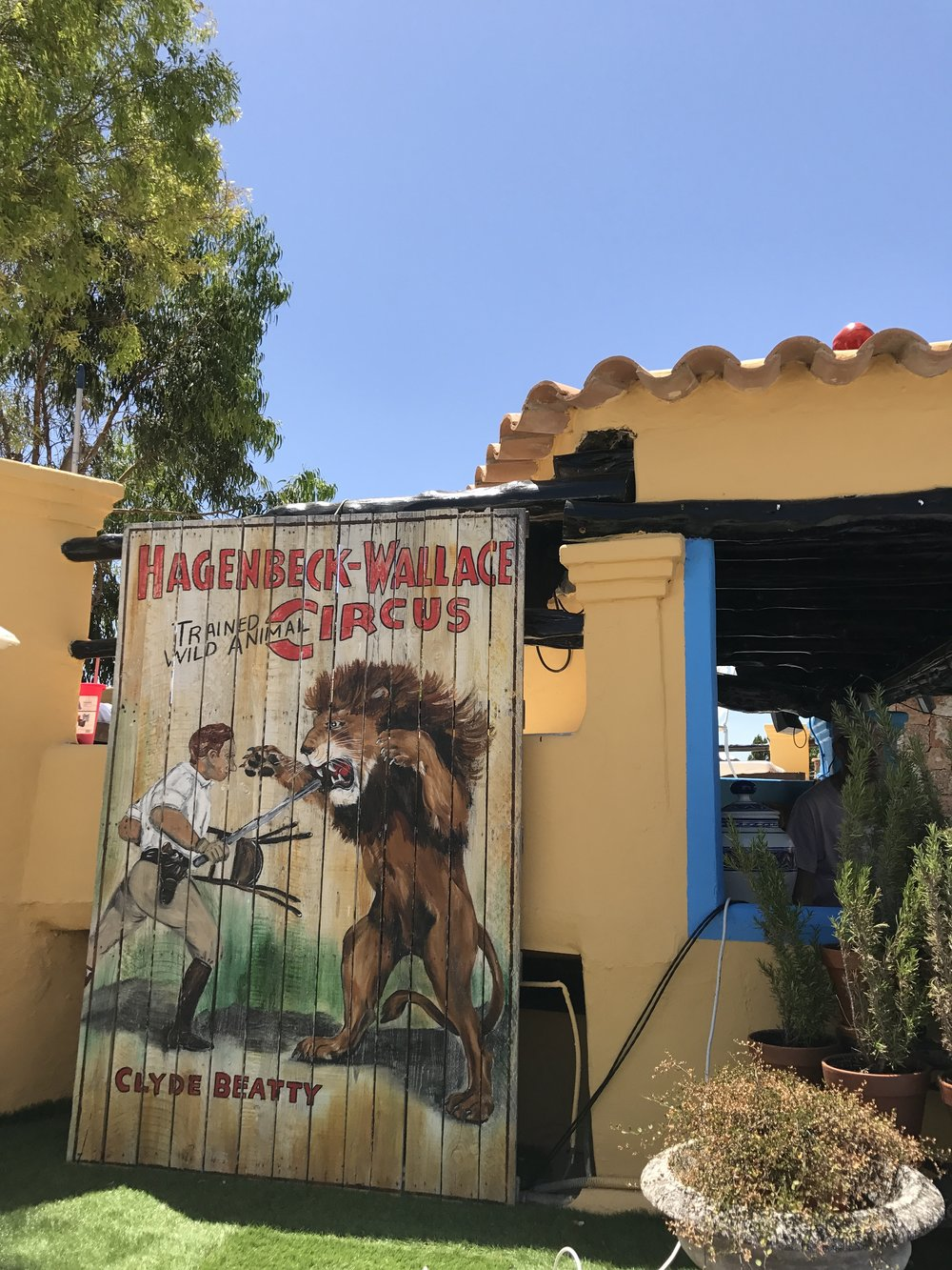 Vintage circus sign by the pool area