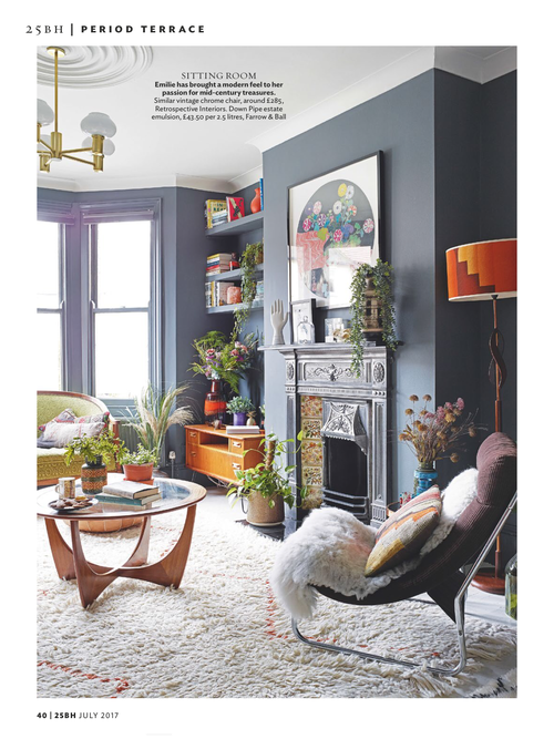 Emilie's living room as recently featured in 25 Beautiful Homes