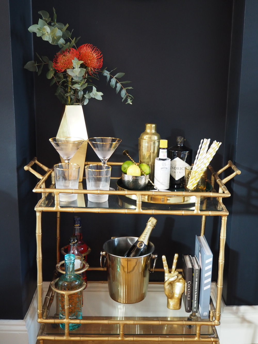 Gold vase , £14, Ice Bucket, £14.50, Tumbler, £5 each, Martini glass, £5, Mixing Spoon, £4.50, Cocktail Shaker, £9.50