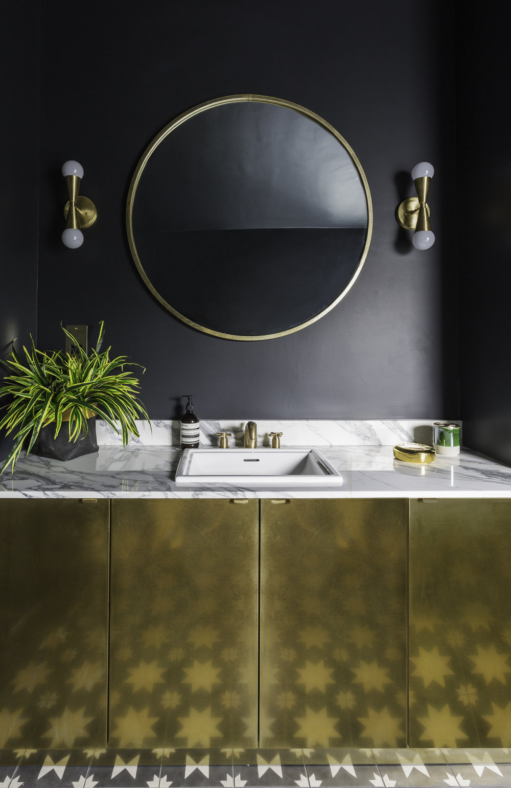 Glorious Custom Fronts brass cabinet,  Victoria + Albert Baths Pembroke sink  and  Perrin & Rowe Crosshead taps  in Satin Brass, Bert & May Pradena tiles Photo: Kasia Fizser