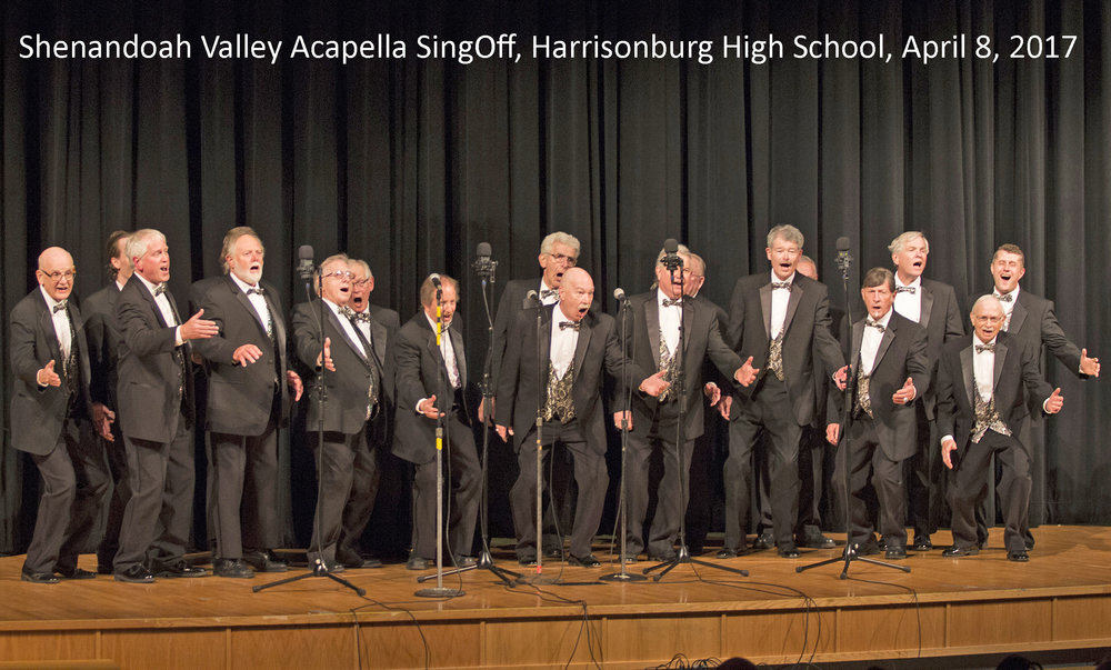 Harrisonburg Harmonizers - The Harrisonburg Harmonizers are a men's barbershop chorus constituting the Harrisonburg Chapter of the Barbershop Harmony Society.We sing music in the barbershop style, a cappella, songs arranged for male voices in close four-part harmony. We meet weekly to sing songs we know, learn new songs, and enjoy warm fellowship. We perform about 15 times per year in various locations in the Shenandoah Valley.Our mission is to entertain, to educate, and to enhance musical and performance opportunities in communities in the Shenandoah Valley, all through singing barbershop harmony. We are committed to music education and to community service through music.The chapter meets 6:30 to 9:00 pm every Monday at Providence Baptist Church, 1441 Erickson Avenue, Harrisonburg. For more information, please contact Michael Calhoun at 540-842-5777.
