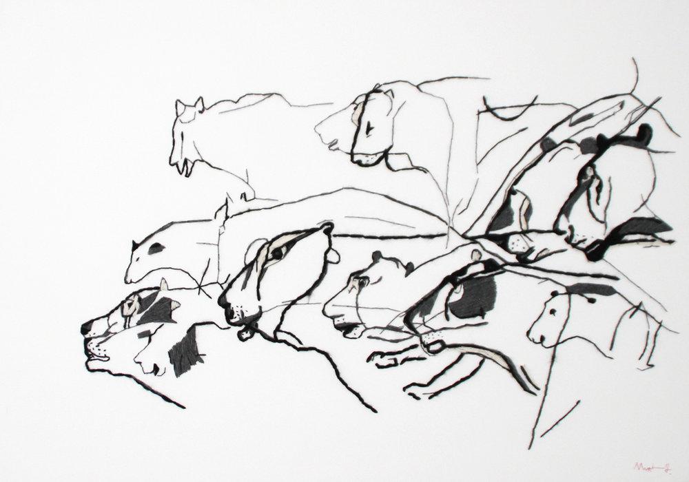Evolution - 2013   toile de coton, laine  70 x 100
