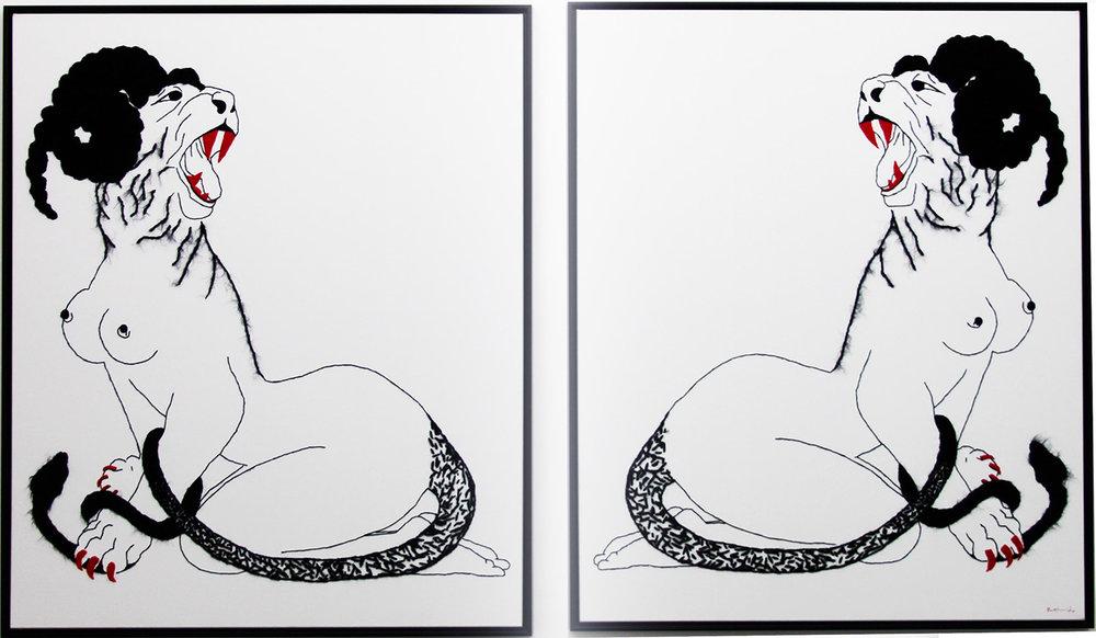 Sphinx - 2013  toile de coton, laine  120 x 100 cm (x2)