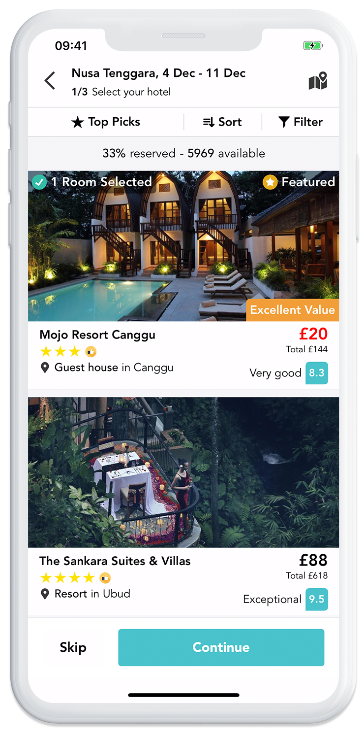 Build your own trip on the GoHype mobile app