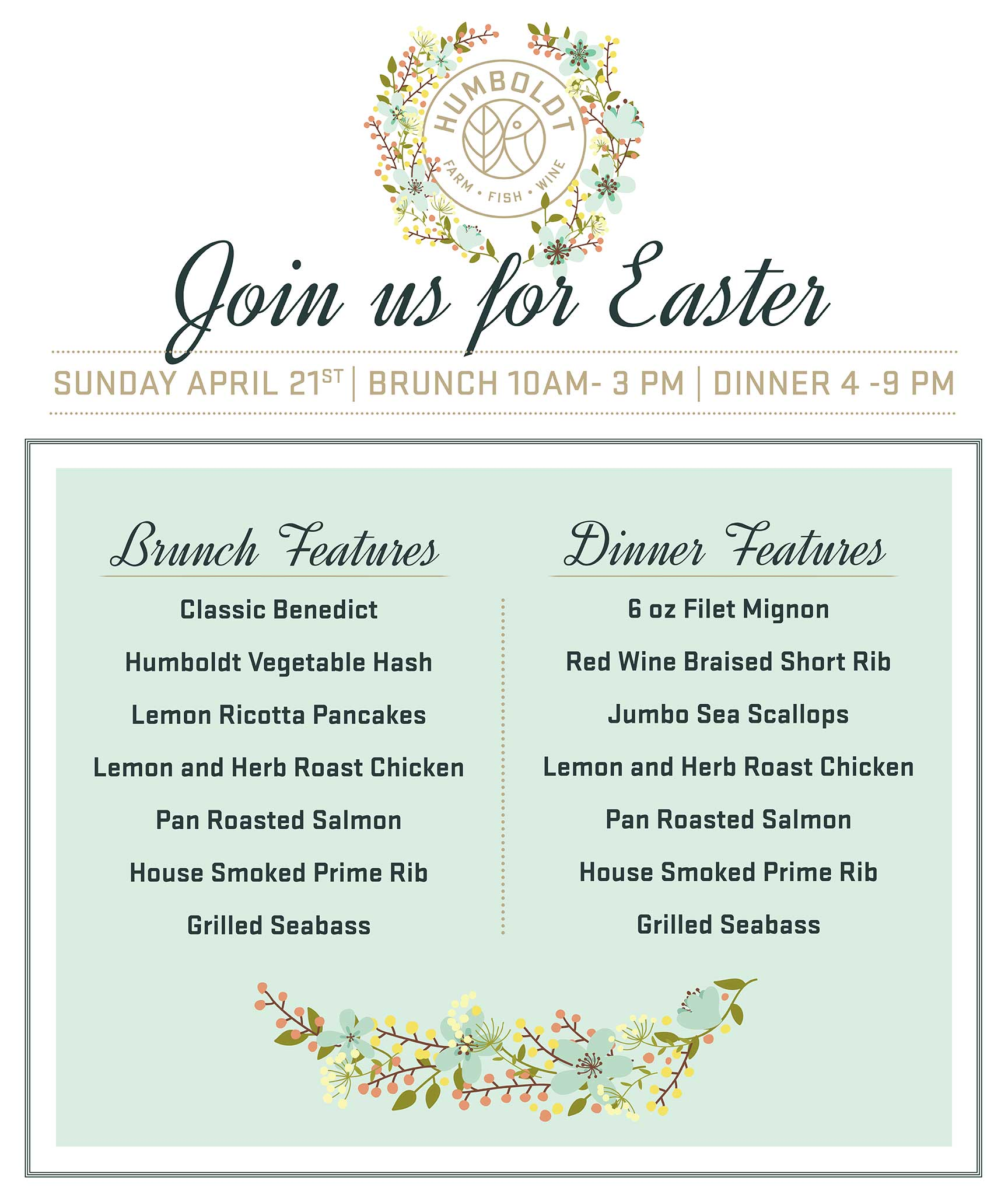 Humboldt Farm Fish Wine Denver Colorado Easter Brunch and Dinner
