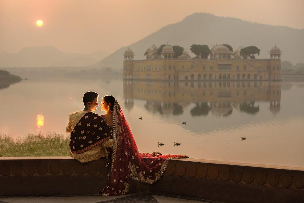 Satnam photography destination luxury prewedding shoot india jaipur jal mahal