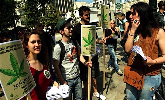 """Cannabis is not a drug"" from the first Cannabis Festival at Syntagma - Photo Credit"