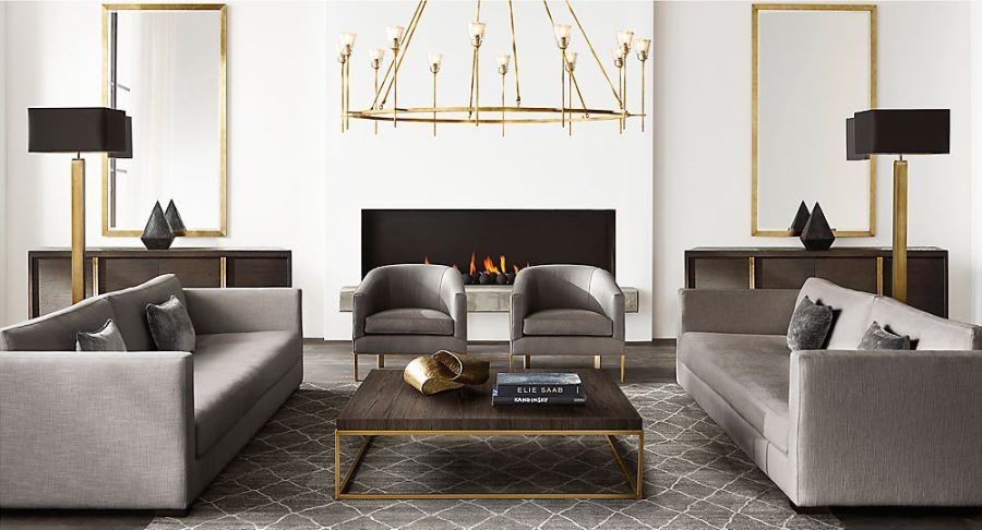 Another photo from Restoration Hardware's modern line. I love the use of brass with the black and gray pieces of furniture. Overall, the room is cool and hard, but the brass adds a touch of warmth and timelessness to an otherwise modern space.