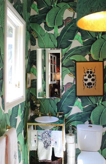 I don't know who designed this powder room, but my hat's off to them!