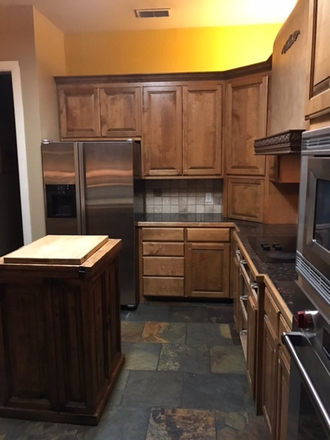 Before: Awkward appliance arrangement, dead space