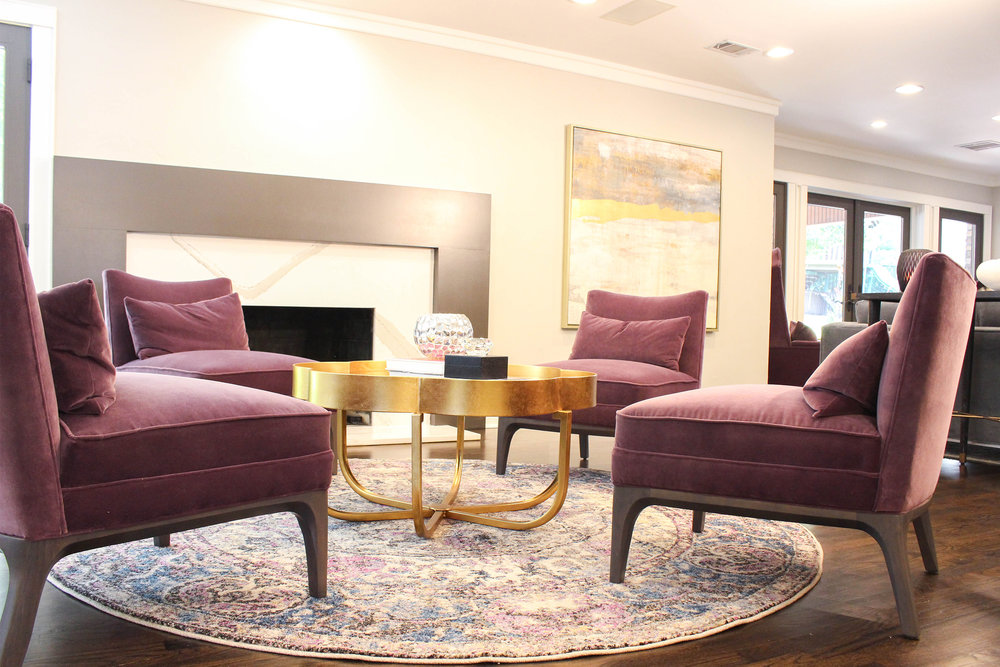 We selected these chairs from a showroom and had them custom upholstered in this deep eggplant colored velvet.
