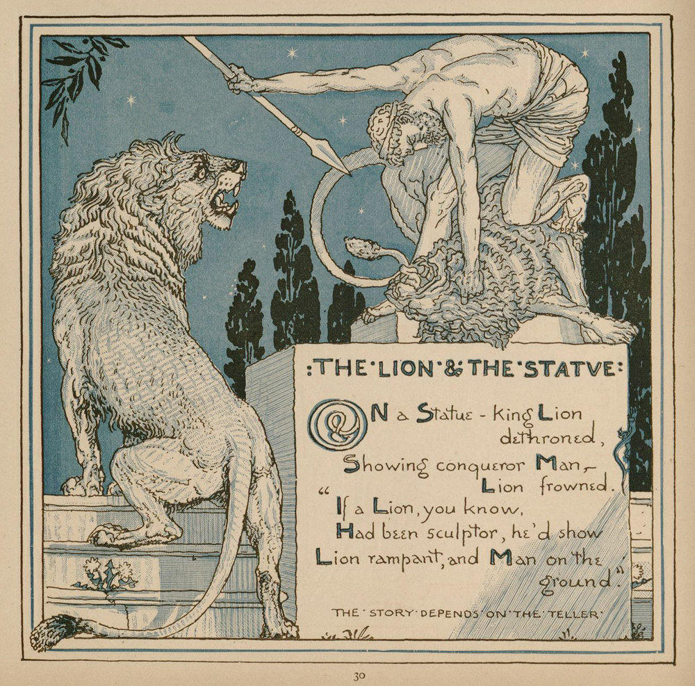 Source: The Baby's Own Aesop (verse fables by W.J. Linton), 1887. Illustrations by Walter Crane. Available online at  International Children's Digital Library .