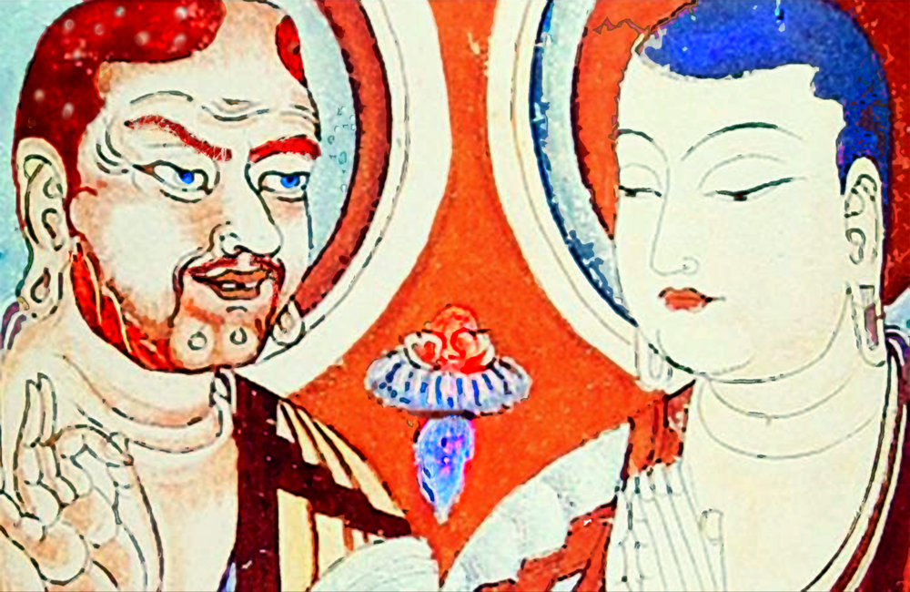 Bodhidarma (left) passing the knowledge of the Buddha onto the Shaolin Monks (right) 9th century fresco, Bezeklik caves, Xinjang, China.