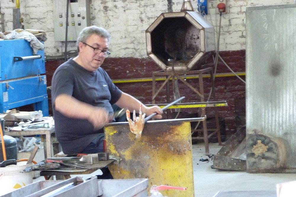 Glass blower in Murano.
