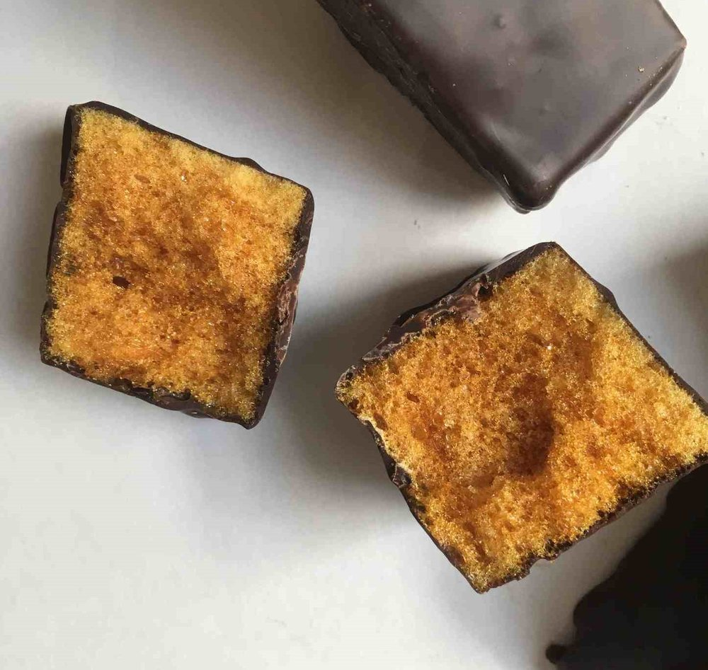 Sandy Flats Sugar Bush :Salted Maple Sponge Toffee - Delicious chunks of maple sponge toffee dipped in either dark or milk chocolate. Crunchy and sweet is an understatement, .Visit Sandy Flats Sugar Bushhttp://sandyflatsugarbush.com/
