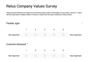 Screenshot of the follow-up Google Form survey