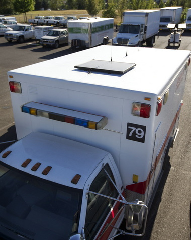 Gresham Fire Department Ambulance - Zamp Solar Powered Battery Charger -  Photo: RANDY L. RASMUSSEN/The Oregonian