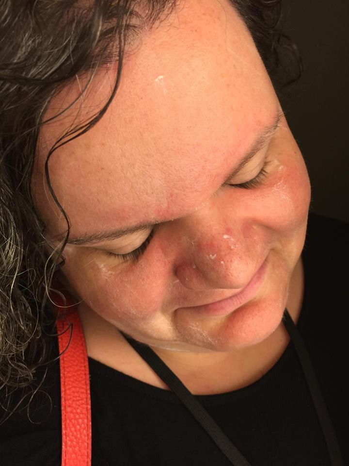 I had walked to my sister's hotel room after yet another bout of emergency intercession and collapsed to the floor tangled up in my purse strap and lanyard. Here is photographic evidence of my stellar job applying moisturizer that morning.