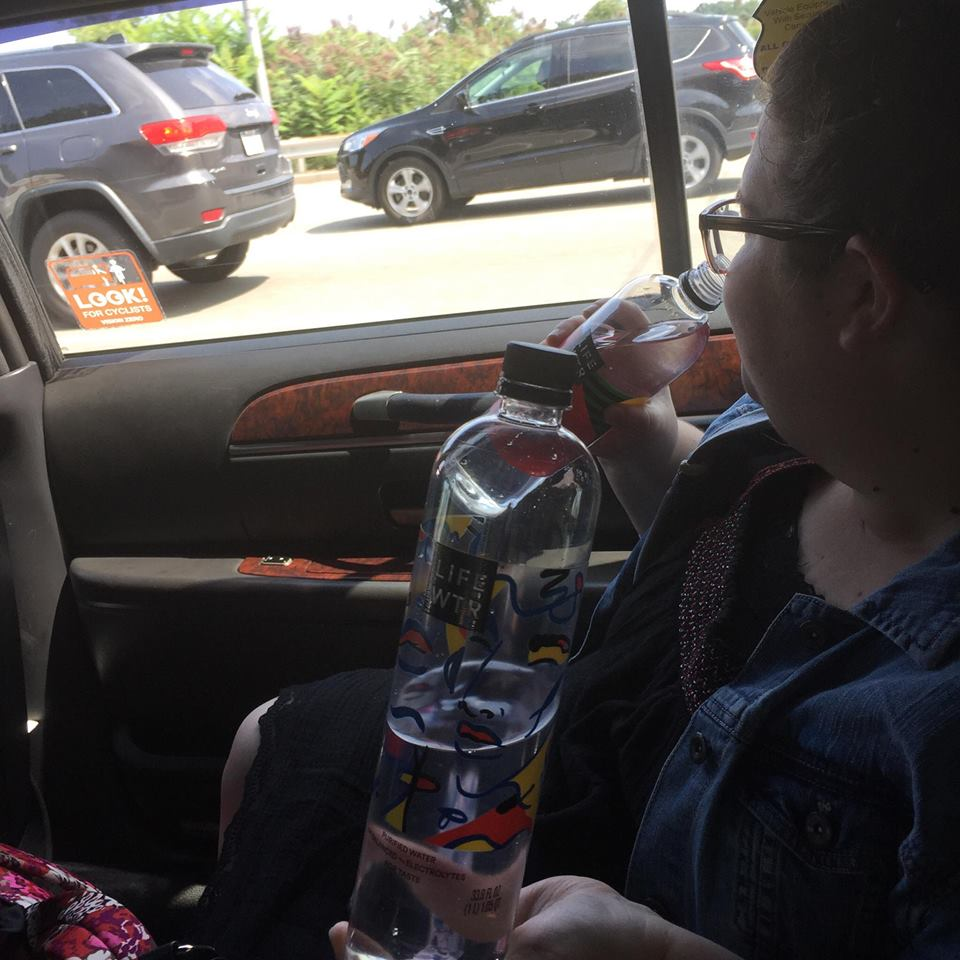 Kristen casually drinking fancy water on a New York Uber ride. These bottles were perfect for a visit to MOMA. Which we crammed in. In fact. We did Times Square, souvenir shopping, Anastasia on Broadway, the subway system, the Empire State Building, New York slice pizza, and the Museum of Modern Art in the span of eleven magical hours.