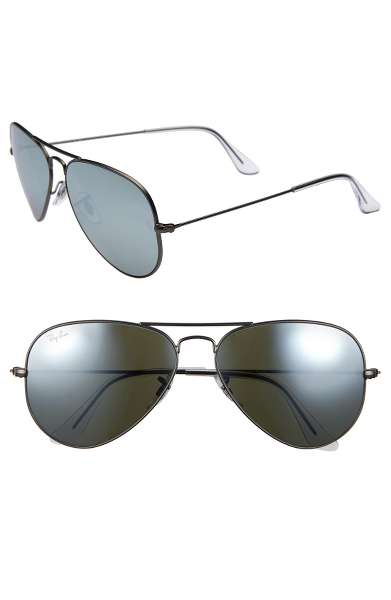 THE SHADES - Ray Ban Original Aviator 58mm Sunglasses are classics for a reason. Slick, serious, and they look good with everything.