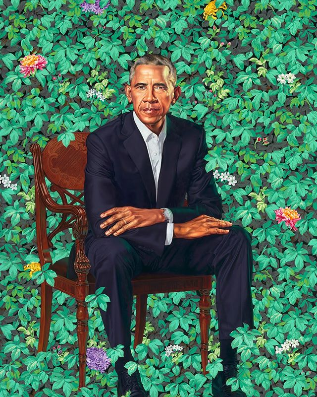 Official Portraits of #barackobama and #michelleobama by @kehindewiley and @asherald  What do you think? ⠀⠀