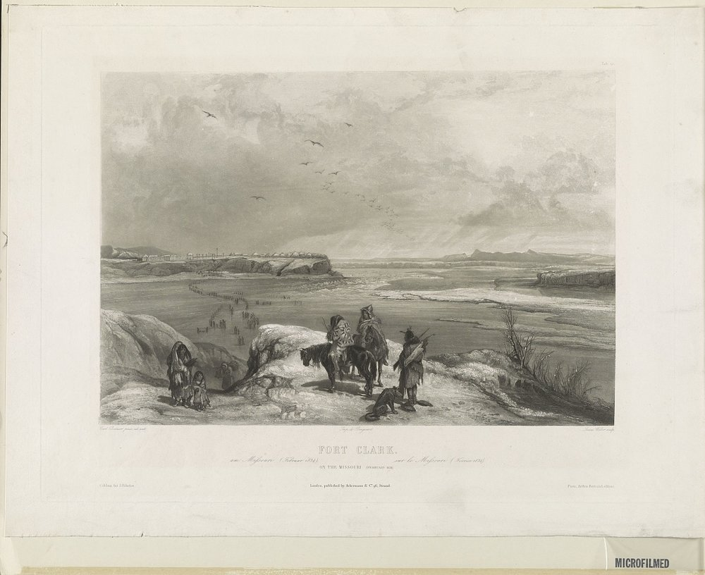 A sketch by artist Karl Bodmer of Fort Clark on the MIssouri River in February 1834.  Bodmer, K. Fort Clark am Missouri Februar 1834: sur la Missouri février 1834 = on the Missouri February 1834. [Between 1839 and 1841] [Image] Retrieved from the Library of Congress, https://www.loc.gov/item/2003654208/.
