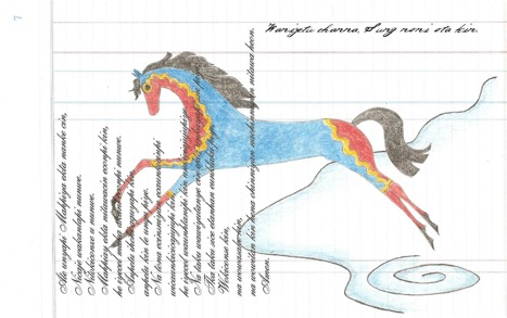 "Dakota Goodhouse   A depiction of the ""Thunder Horse Song""  Used with permission of the artist."