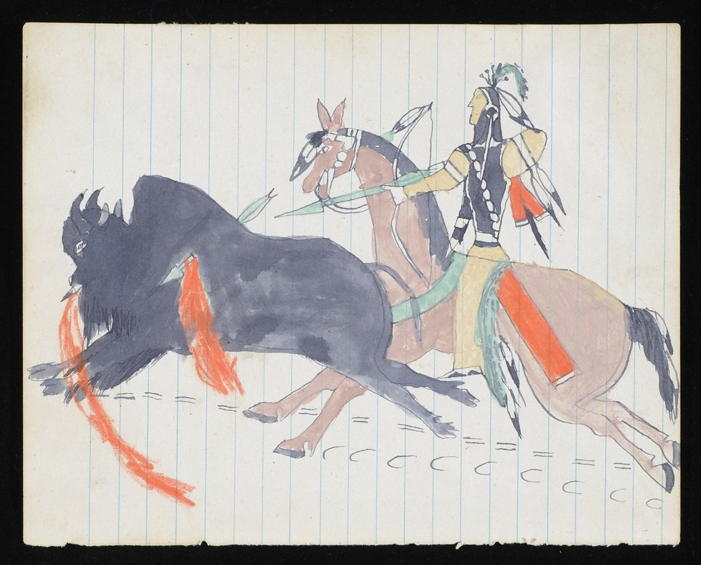 "Howling Wolf (Ho‑na‑nist‑to), (Southern Tsistsistas (Cheyenne))   Untitled (Warrior on a Buffalo Hunt), from the ""Robert Allen Guthrie Notebook""  About 1874‑1875 2007.65.9 Hood Museum of Art, Dartmouth College: Mark Lansburgh Ledger Drawing Collection; Partial gift of Mark Lansburgh, Class of 1949; and partial purchase through the Mrs. Harvey P. Hood W'18 Fund, and the Offices of the President and Provost of Dartmouth College"