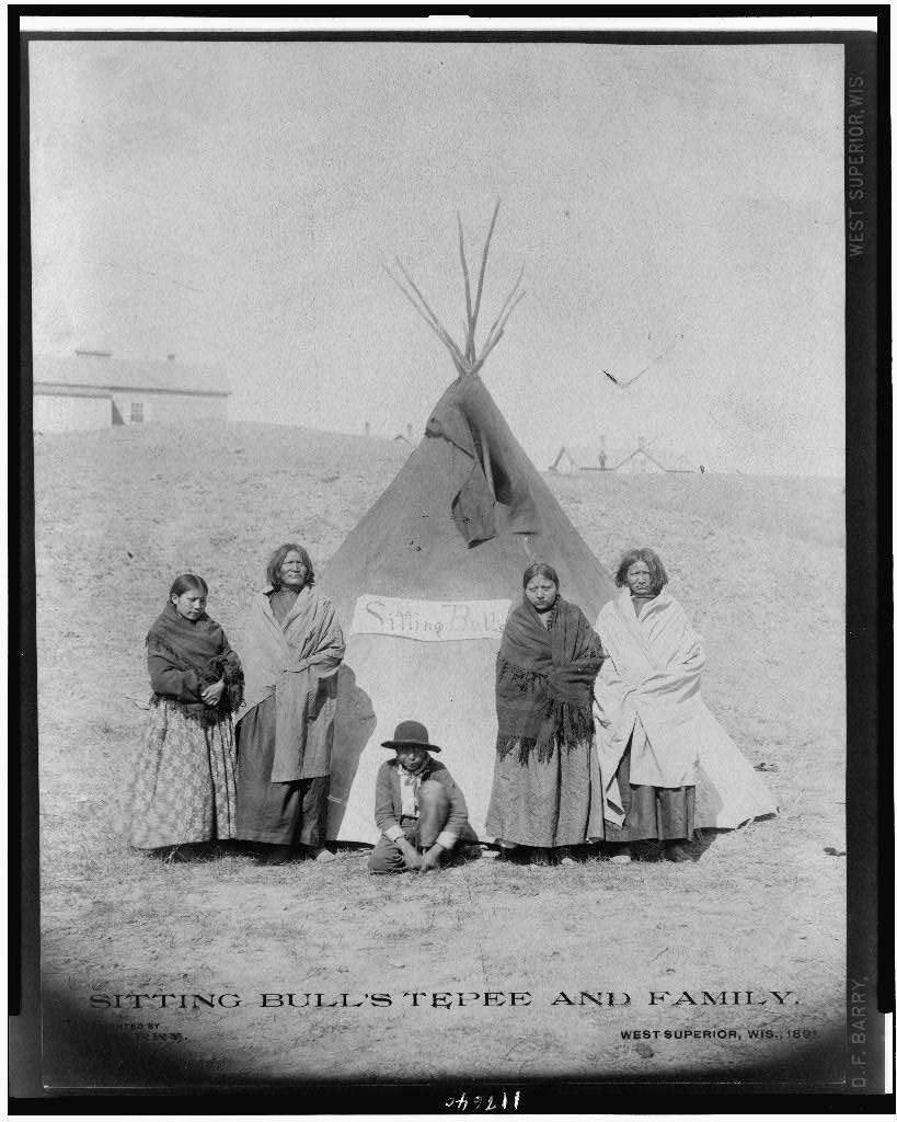 Sitting Bull's Tepee and Family , Francis Barry, photographer c. 1891 Library of Congress Copyright by D.F. Barry