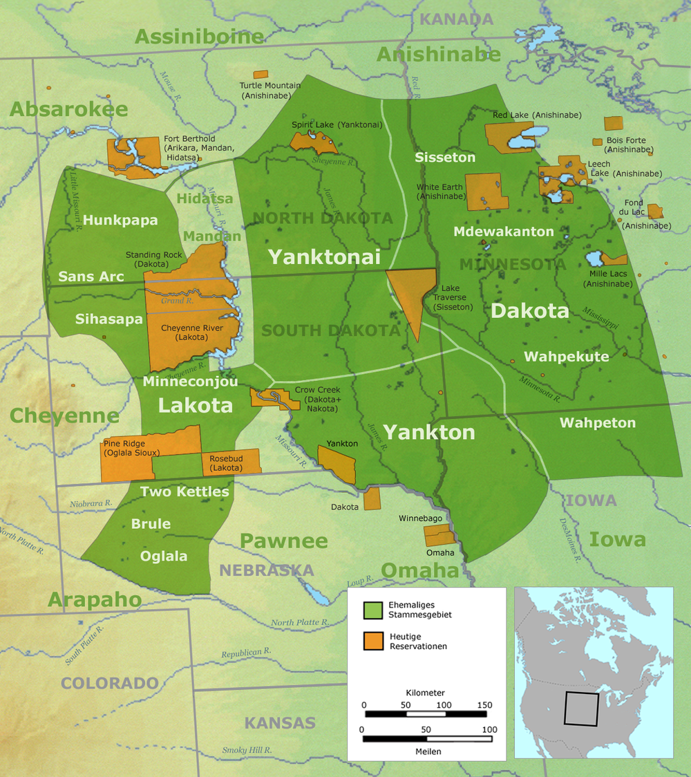 The historical regions of the Seven Council Fires are shown in green and the reservations these groups were forcibly confined to are shown in orange. These regions would not have been fixed but rather shifted depending on availability of resources, seasons, and intertribal relations. The Standing Rock Reservation is bisected by the North and South Dakota border.  Image attribution unknown