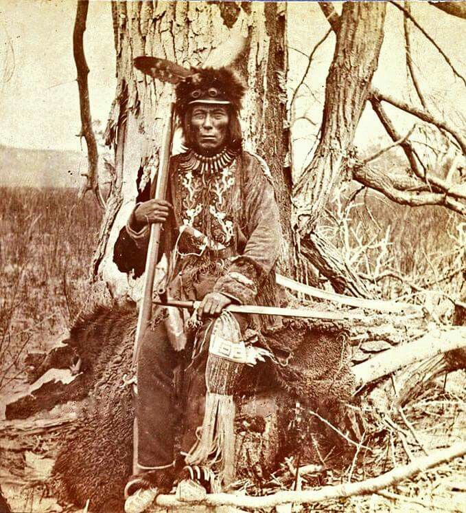 "Medicine Bear, who was an ""itáŋčaŋ,"" one of four primary chiefs of the Pȟabáksa (Cut-Head) division of the Iháŋktȟuŋwaŋna (Yanktonai). He is thought to have been forty years old when the reservation era, the time of nothing, began.  Image attribution unknown"