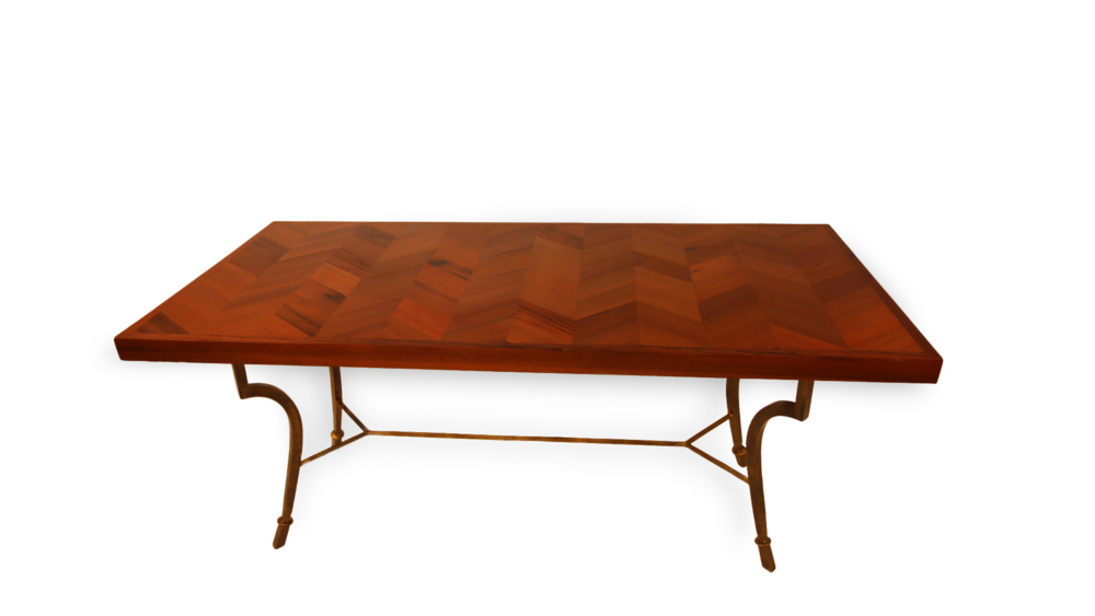 Chevron Desk Made with Redwood from The Hudson Water Tower in Chicago, IL.