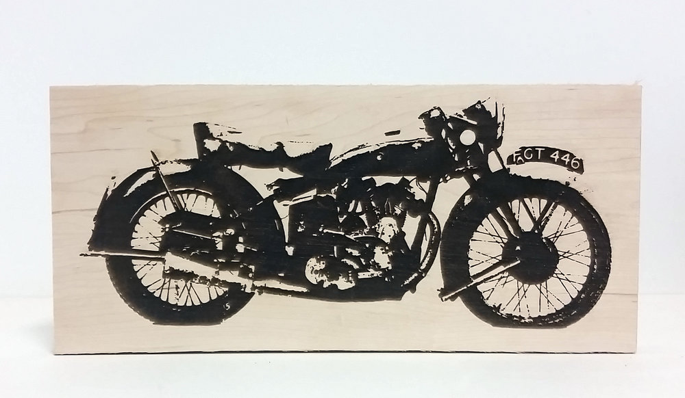 Etched Motorcycle Wood Art
