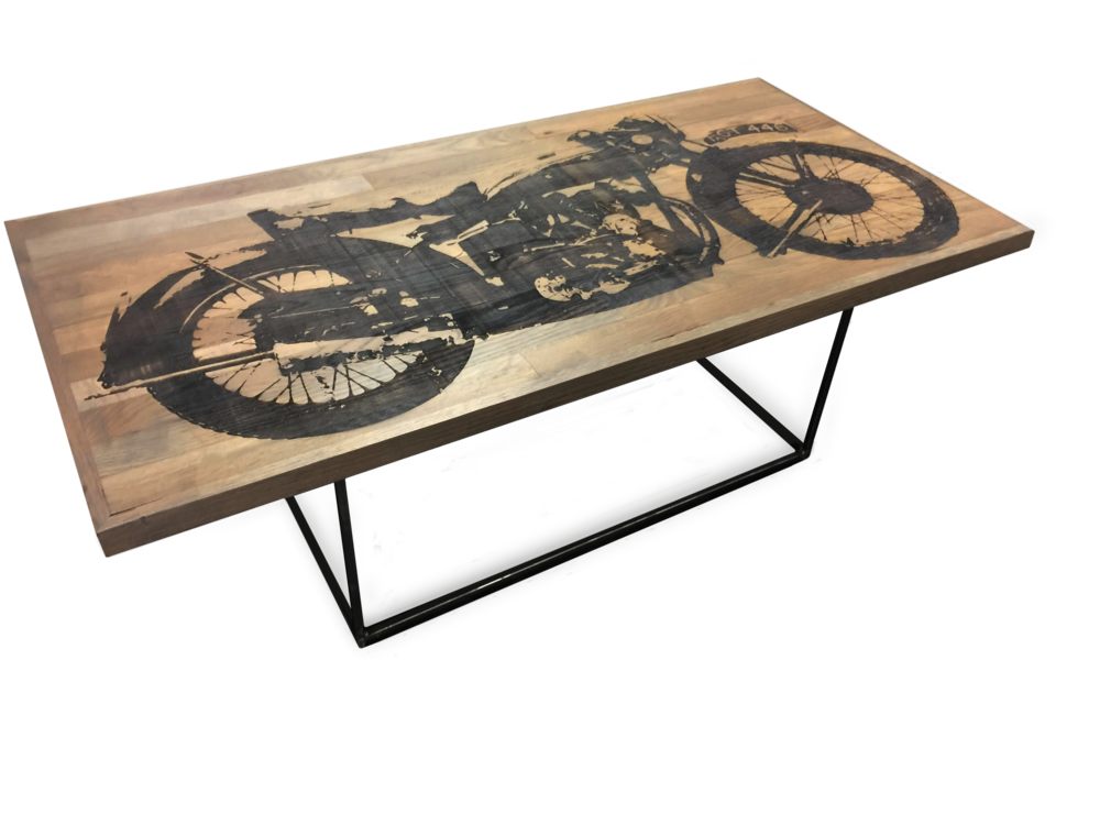 Etched Motorcycle Coffee Table