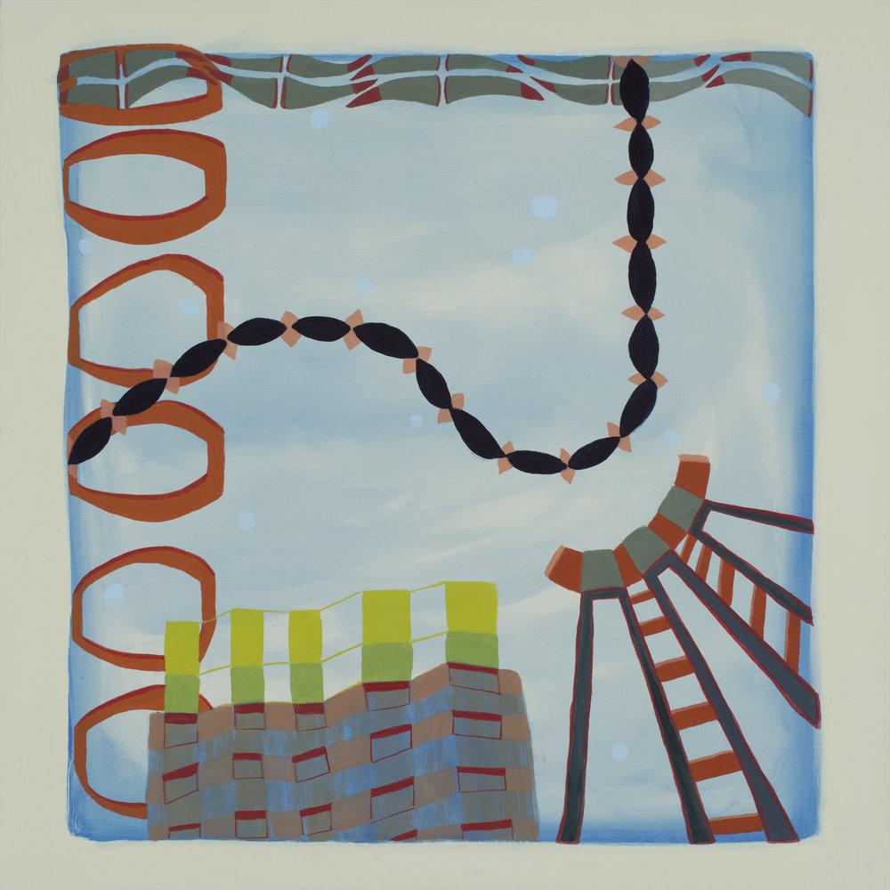 """Crane, oil on panel, 18"""" x 18"""", 2017"""