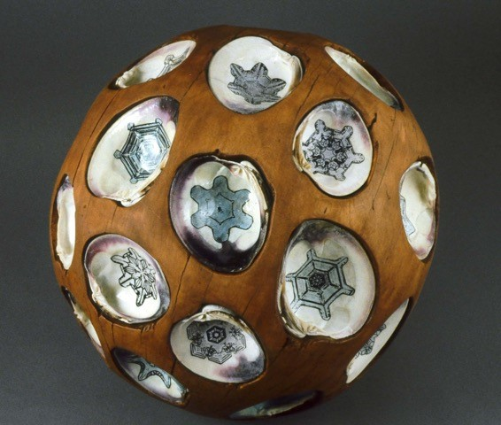 "Shell Ball   Beech, quahog shells, photocopy, watercolor, 13"" round,  1999"