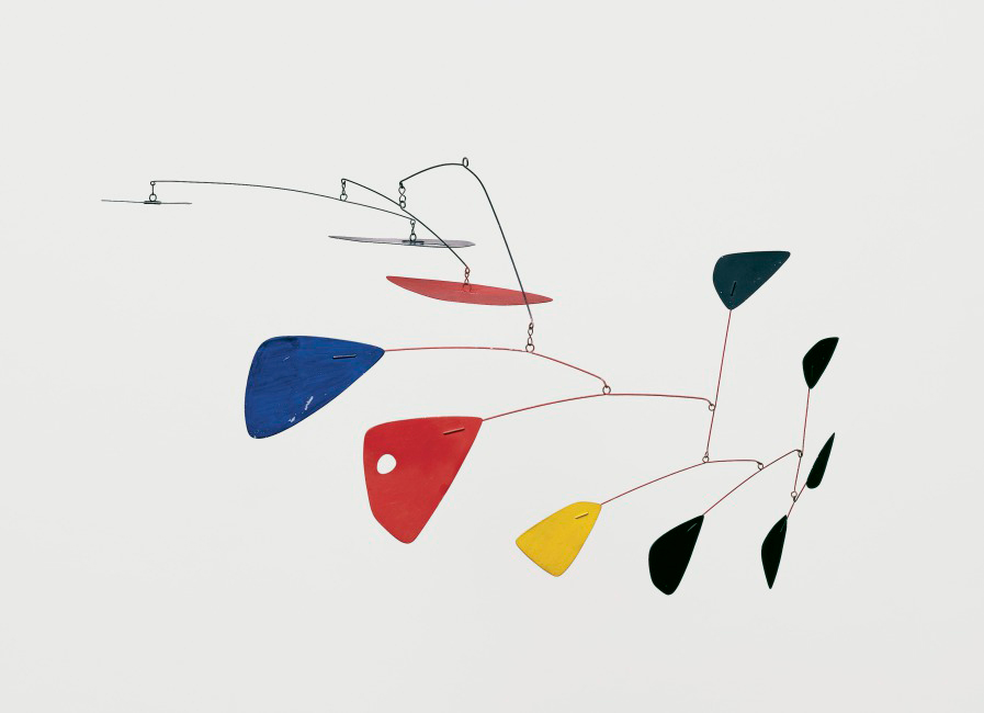 Alexander Calder Mobile (about 1953) Painted sheet aluminum and wire Overall: 18 x 36 in. (45.72 x 91.44 cm) Hood Museum of Art, Dartmouth College: Partial gift of Nancy and Heinz Valtin in memory of Curt Valentin and partial purchase through the Miriam and Sidney Stoneman Acquisition Fund © Calder Foundation, New York / Artists Rights Society (ARS), New York S.998.41