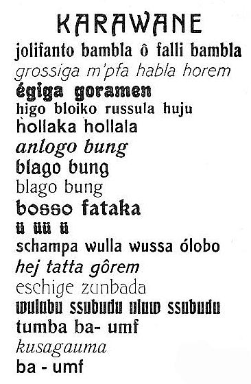Hugo Ball, German, 1886 - 1927   Karawane   1917; published 1920 Ink on paper Erich Reiss Verlag Source: Dada Almanach. Berlin: Erich Reiss Verlag